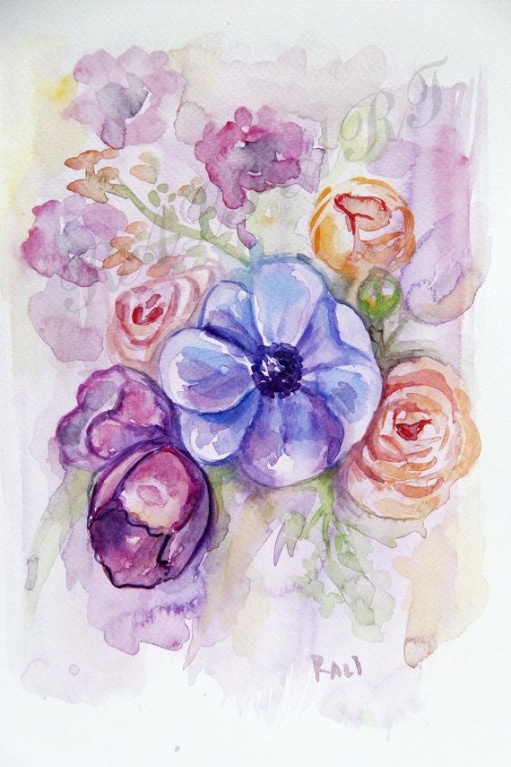 Watercolor Flowers Watercolor Bouquet Aquarelle By Ralijewellery