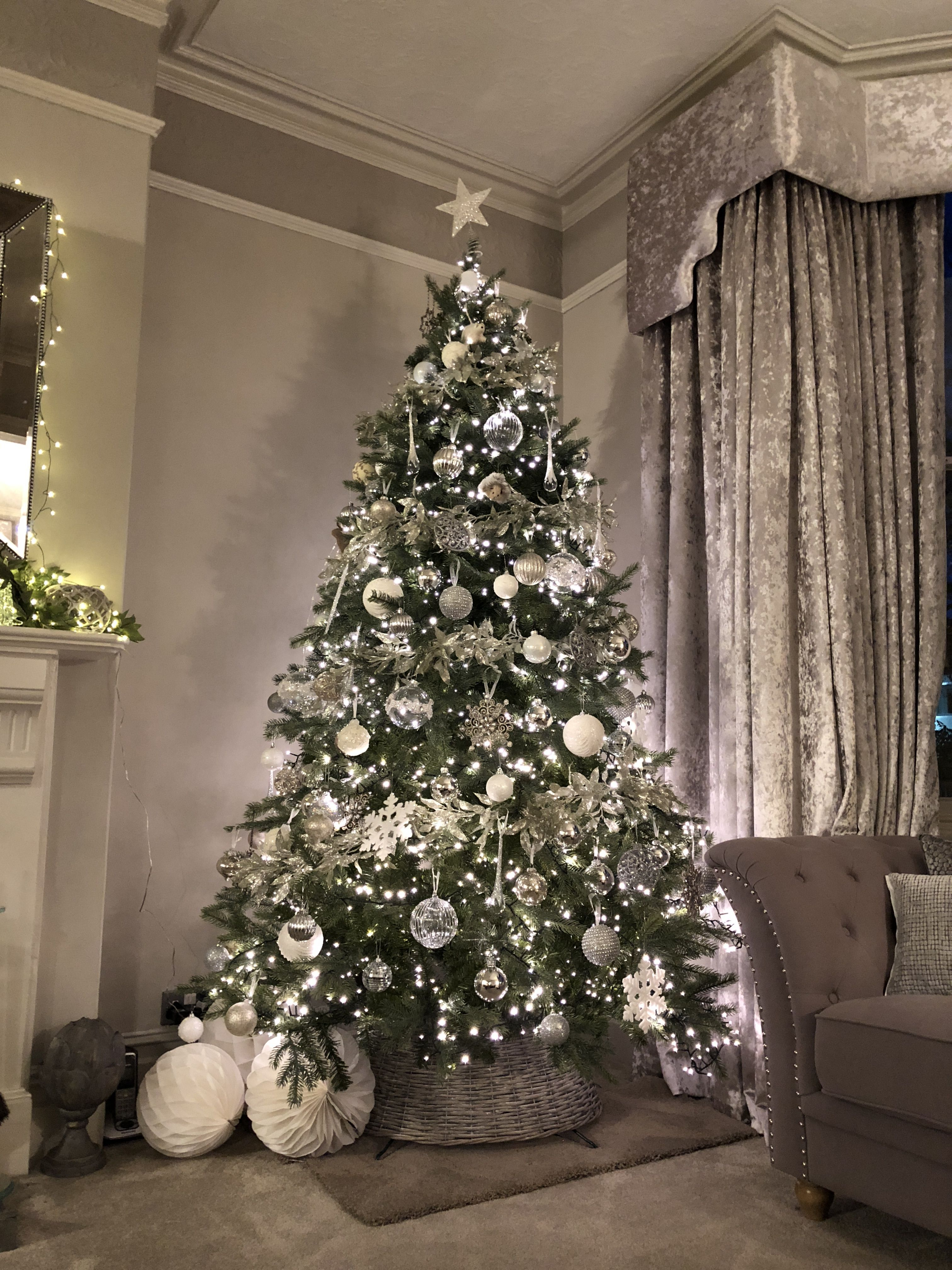 Beautiful Silver Baubles It S That Most Wonderful Time Of Year Beautiful Silver Baubles Holiday Decor Christmas Silver Christmas Tree Simple Christmas Tree