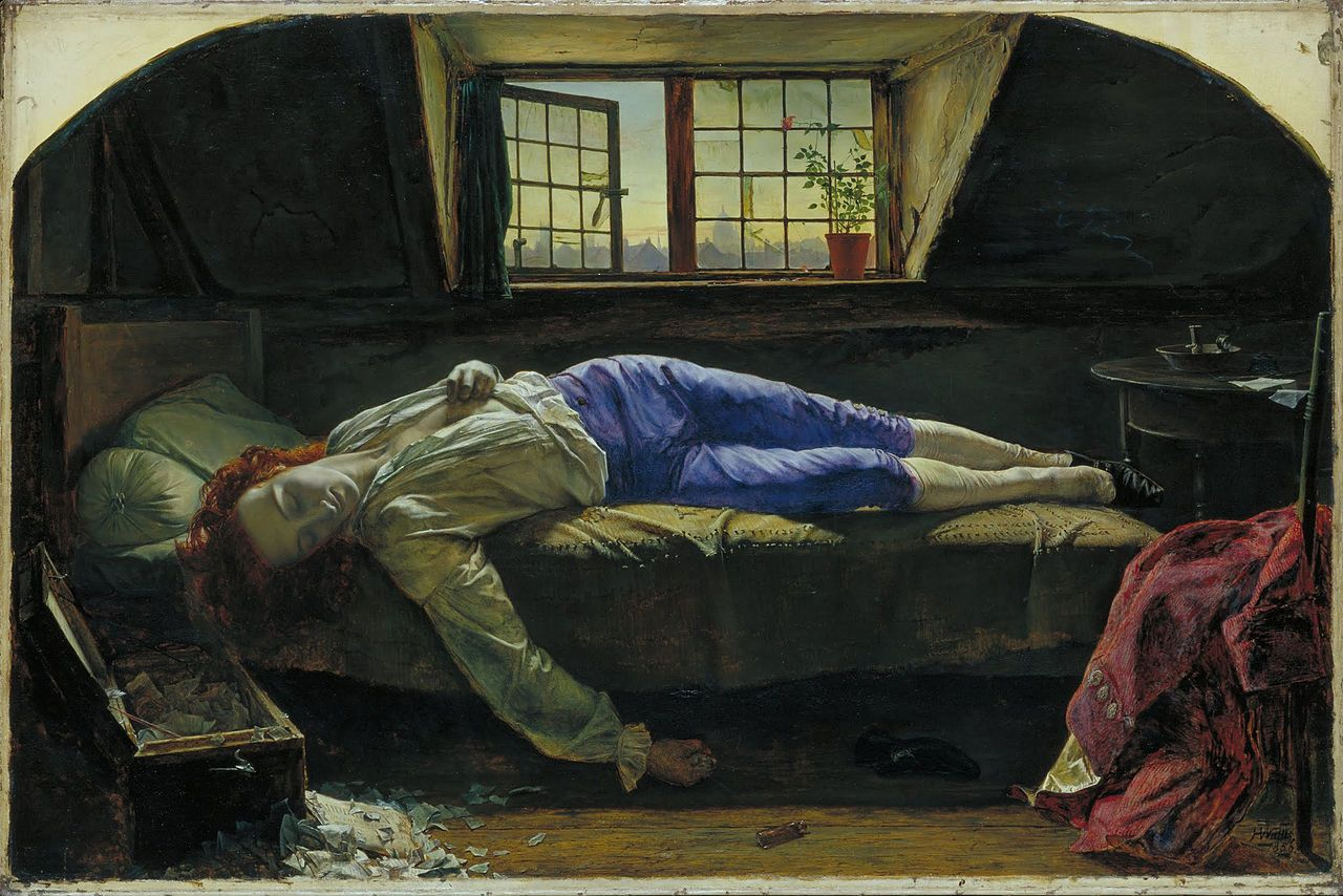 The Death of Chatterton. Chatterton was a 17-year old early Romantic poet, who is shown death after poisoned himself with arsenic. By Henry Wallis