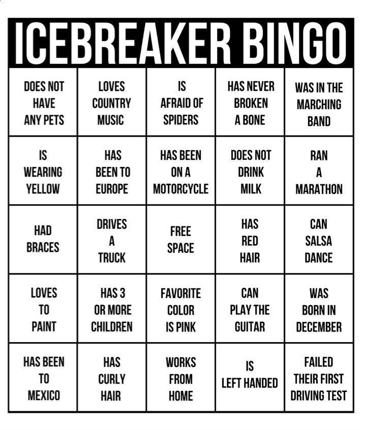 Ice Breaker Bingo Perfect For A Team Building Activity Ice Breaker Games Ice Breaker Bingo Team Building Activities