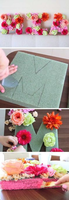 No Sew Mini Pom Pom Bags Recipe Floral Letters Baby Girl
