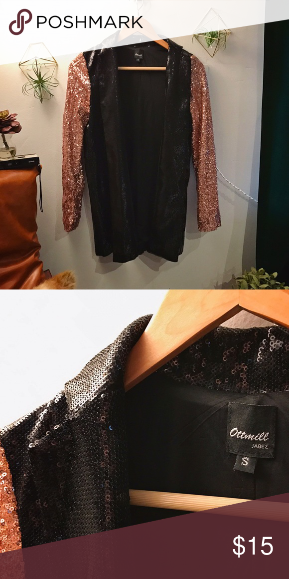 Sequin Blazer Rose Gold and Black Sequin Jacket that's perfect for a night out on the town. No button closures, so I won't keep you warm, but you'll look fucking hot so who cares. Jackets & Coats Blazers