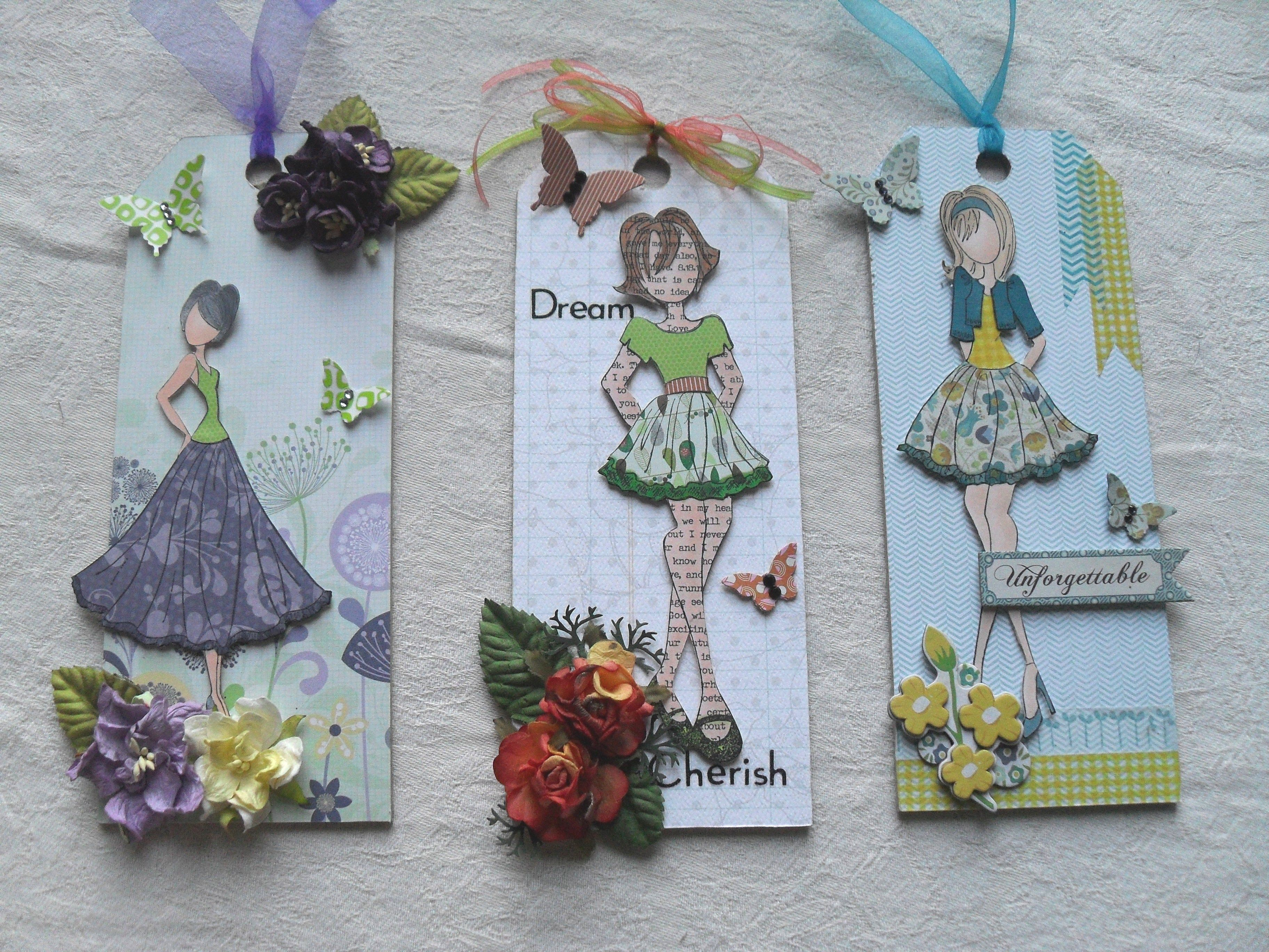 Prima Doll wall hangers.  Julie Nutting stamps decorated with assorted papers, ribbons & flowers.  www.facebook.com/0narrival