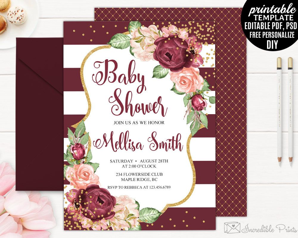 Burgundy Baby Shower Invitation Printable Editable Red And Pink