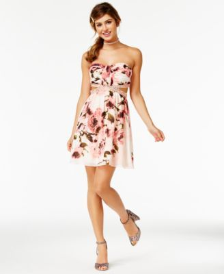 4dd9d78d4dfd Speechless Juniors' Floral-Print Cutout Strapless Dress, A Macy's Exclusive  | macys.com
