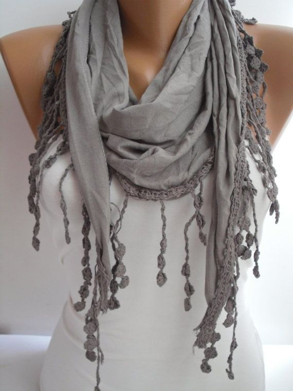 LINKOPING♥Brown Elegance Shawl/Scarf with Lacy Edge by DIDUCI on Etsy, $19.00