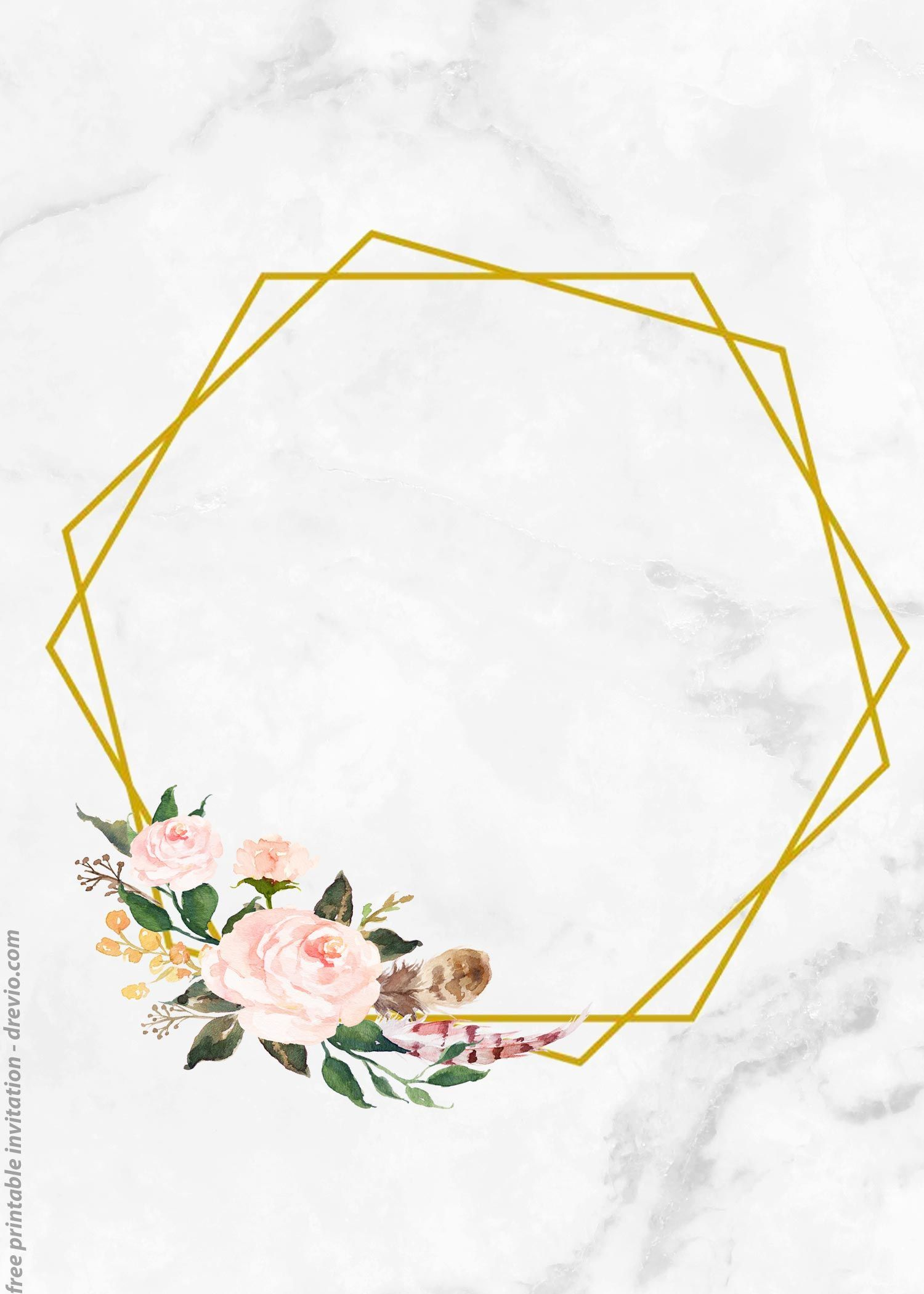 Get Free Vintage Floral Watercolor With Marble Invitation Templates Frame Marble Invitation Floral Watercolor Floral Invitations Template