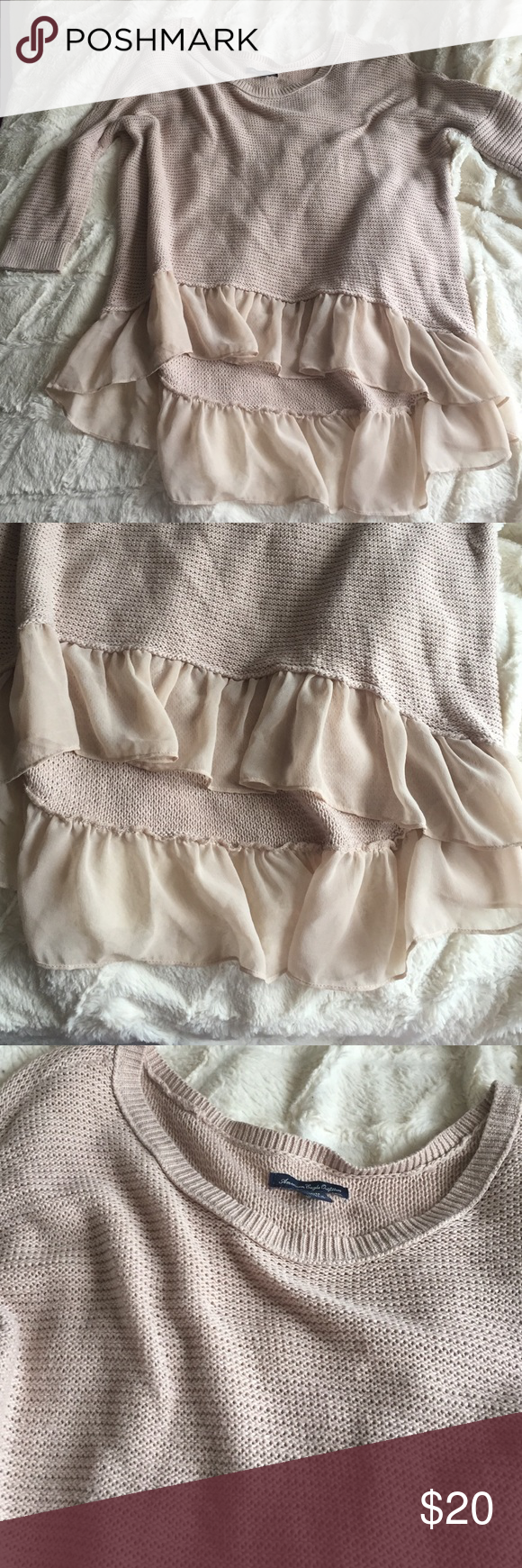 Lightweight sweater top Barely worn; soft baby pink w chiffon ruffle. Front is higher than back American Eagle Outfitters Tops