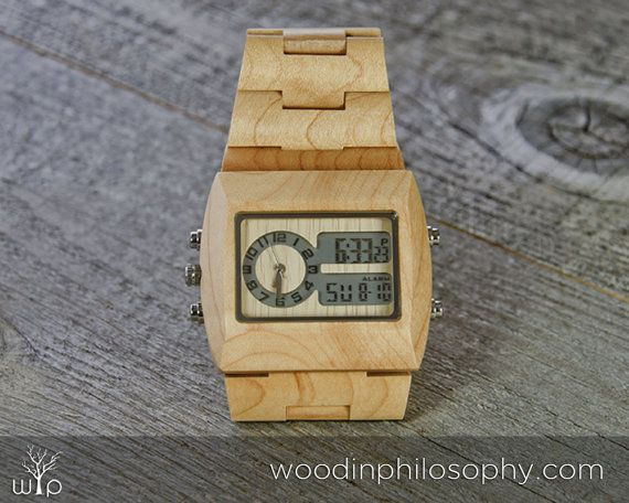 Maple Wood Watch  Engraved Wooden Watch  by WoodInPhilosophy