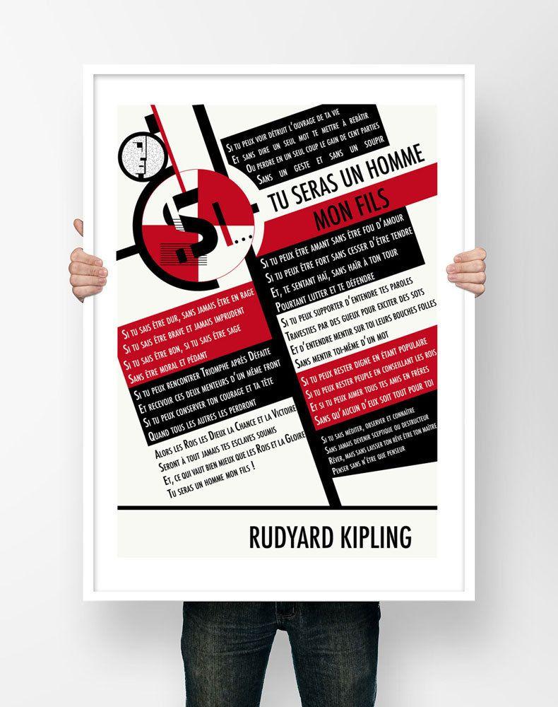 Affiche Illustration Poeme Rudyard Kipling Si Tu Seras Un Etsy Illustration If Rudyard Kipling