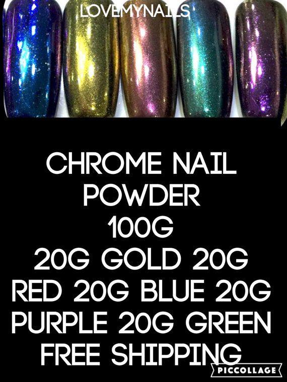Chrome nail powder gel nail acrylic nails by Lovetobakeandcraft ...
