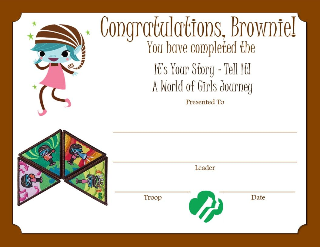 Brownie A World of Girls Journey Certificate | Brownie girl