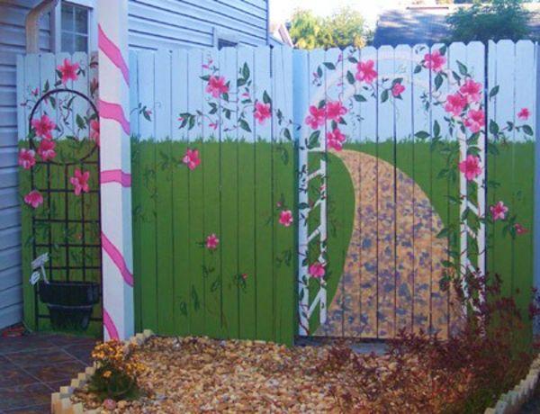 selbstgemachte-gartendeko-zaun-bemalen - interessanter vorschlag, Gartenarbeit ideen