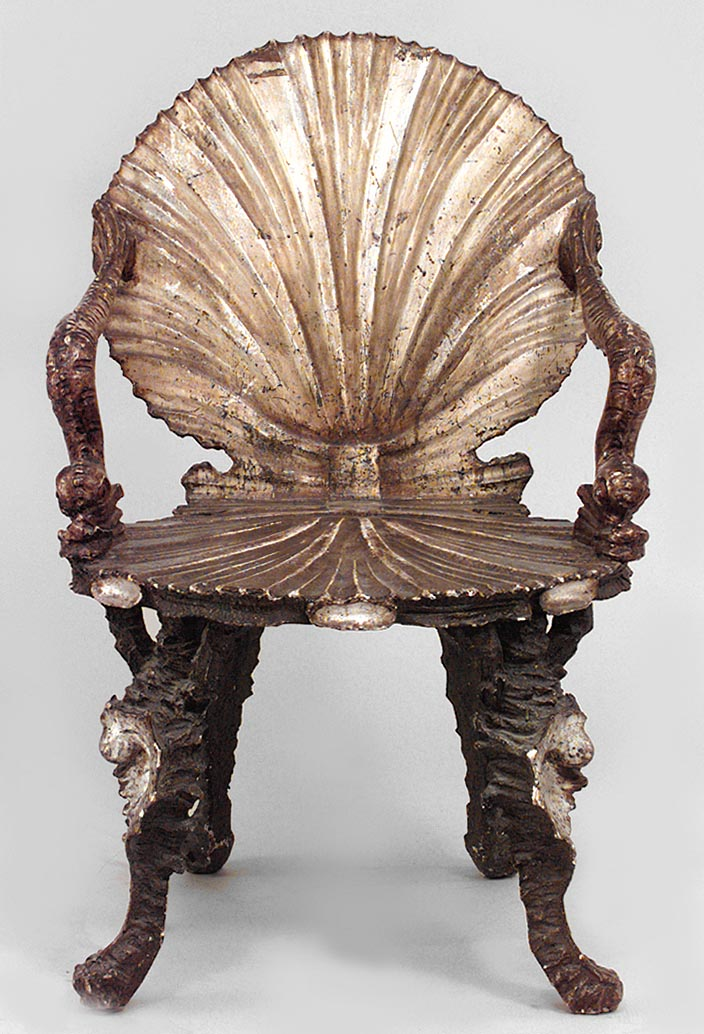 Charmant Italian Venetian Grotto (19th Cent) Silver Gilt Arm Chairs With Carved  Seashell Back U0026