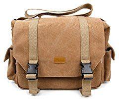 Geräumige Umhängetasche für Nikon D3200 / D3300 / D5100 / D5200 / D5300 SLR Digitalkameras und Zubehör - beige-braun - von DuraGadget