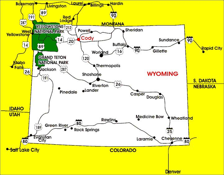 photos of cody wyoming Map of Cody Wyoming Travel