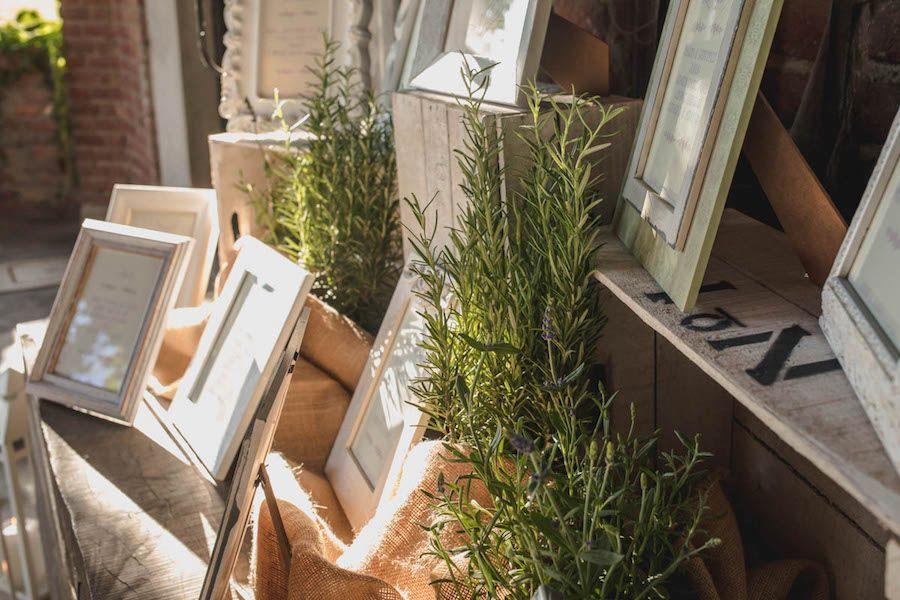 tableau de mariage con cornici e piante aromatiche 3ed5af373d1