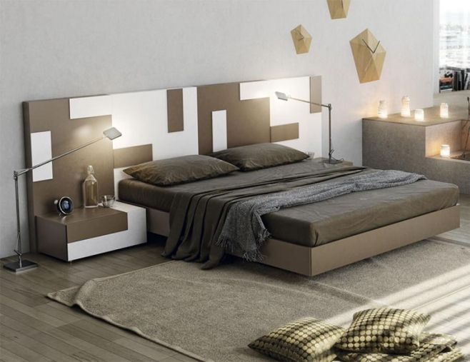 Contemporary Garcia Sabate Pixel Bed in Cappuccino and White Opt ...