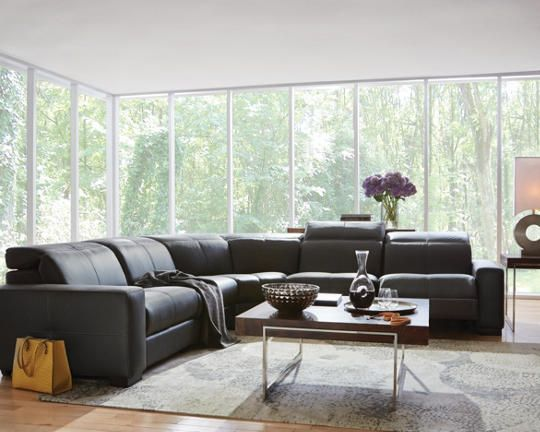 Best Gianna 5 Piece Leather Reclining Sectional Charcoal 400 x 300