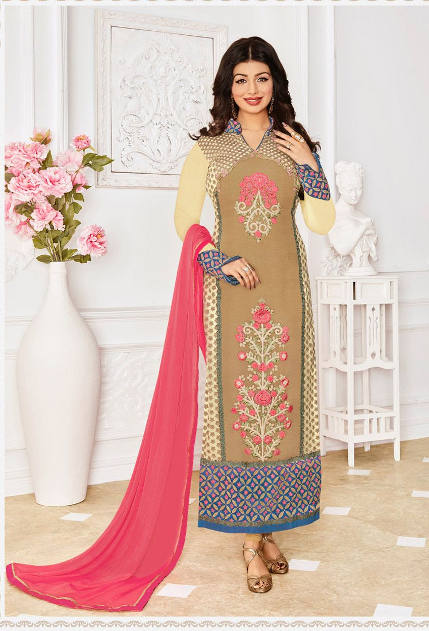 Semi Stitched Beige Georgette Straight Cut Suit #georgette #net #officewear #long #achkanstyle #salwarkameez #suit #suitsonline #traditional #straightcut #fullsleeve #contemporary #womenwear #womenclothing #nikvik #usa #designer #australia #canada #malaysia #UAE #freeshipping price-US$89.43.Sign up and get USD100 worth vouchers.Offer is valid for limited period.