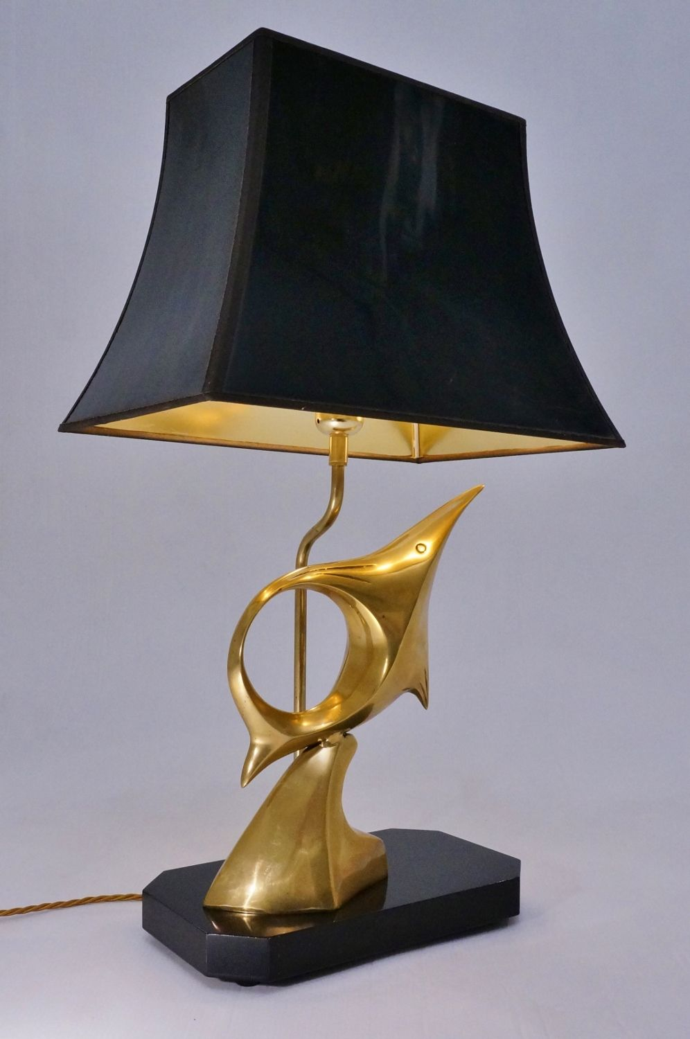 Franz Hagenauer Sculpture Br Fish Table Lamp 1970 S Austrian In Vintage Lamps