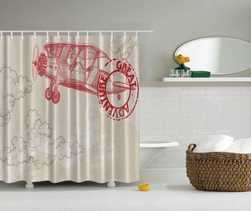 Great Adventure Airplane 70 Shower Curtain Digital Art Bathroom Vivid Decor New In Home G Bathroom Shower Curtains Curtains Printed Shower Curtain