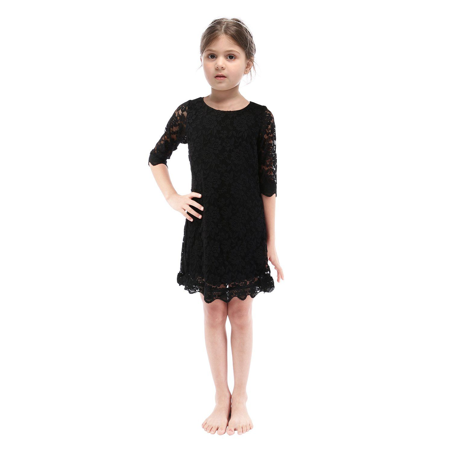 Lilytots Rustic Flower Girls Lace Vintage Wedding Party Dress With 3 4 Sleeves 5t Black Products Details Best Dress For Girl Vintage Wedding Party Dresses [ 1500 x 1500 Pixel ]