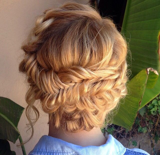 Amazing boho braided updo styled with Glop and Glam's Vanilla Cream  #glopandglam #boho #braid #fishtail #fishtailbraid #curls #updo #weddinghair #eventhair #updos