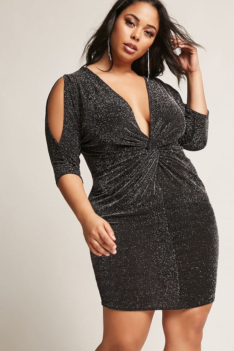 434c208f7c Product Name Plus Size Metallic Twist-Front Dress