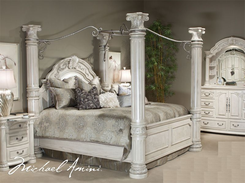king poster bedroom sets. AICO Furniture  Monte Carlo II 4 Piece California King Poster Bedroom Set with Gentlemen s Chest in Silver Pearl king size canopy bedroom sets Cal Pc Canopy
