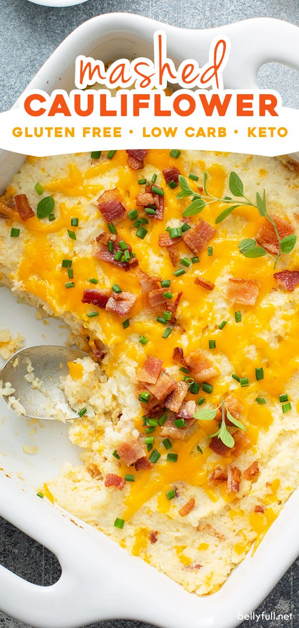 Creamy Mashed Cauliflower Mixed With Sour Cream Cheddar Cheese Bacon And Then Baked This In 2020 Mashed Cauliflower Veggie Dishes Cauliflower Mashed Potatoes Keto
