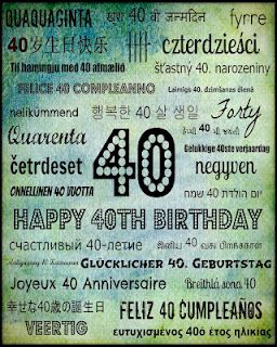 Happy 40th Birthday subway art printable