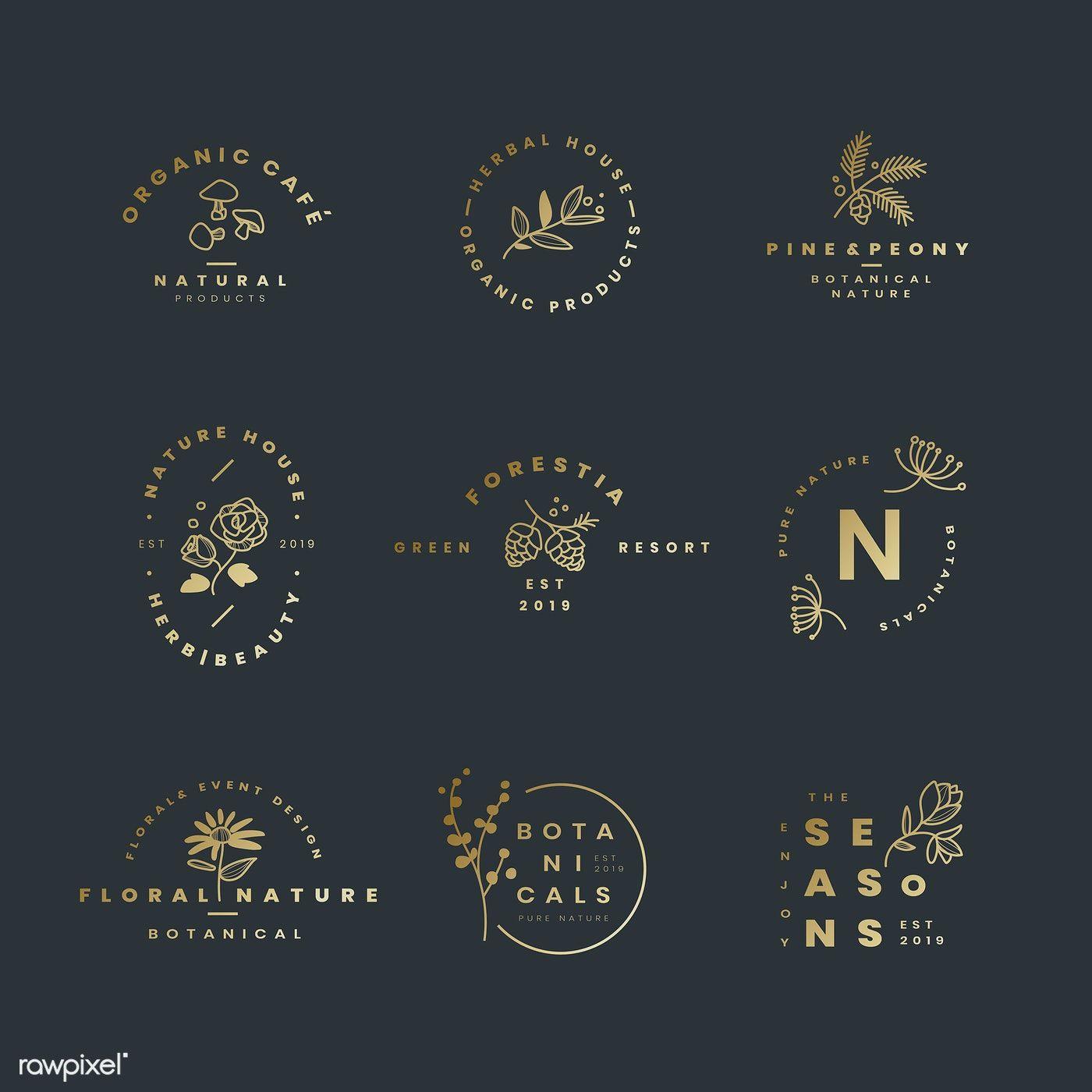 Set of botanical logo design vectors free image by
