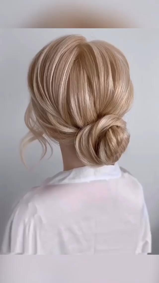 Simple bridal low hair bun