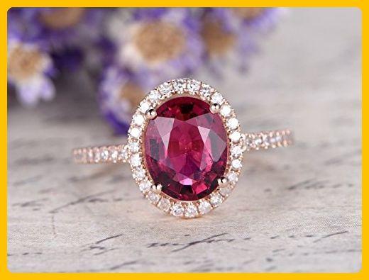 6x8mm Oval Cut 1.67ctw VS Pink Tourmaline Solid 14k Rose Gold Engagement Ring Bridal Diamond Halo Ball Prong Art Deco Wedding Band - Wedding favors (*Amazon Partner-Link)