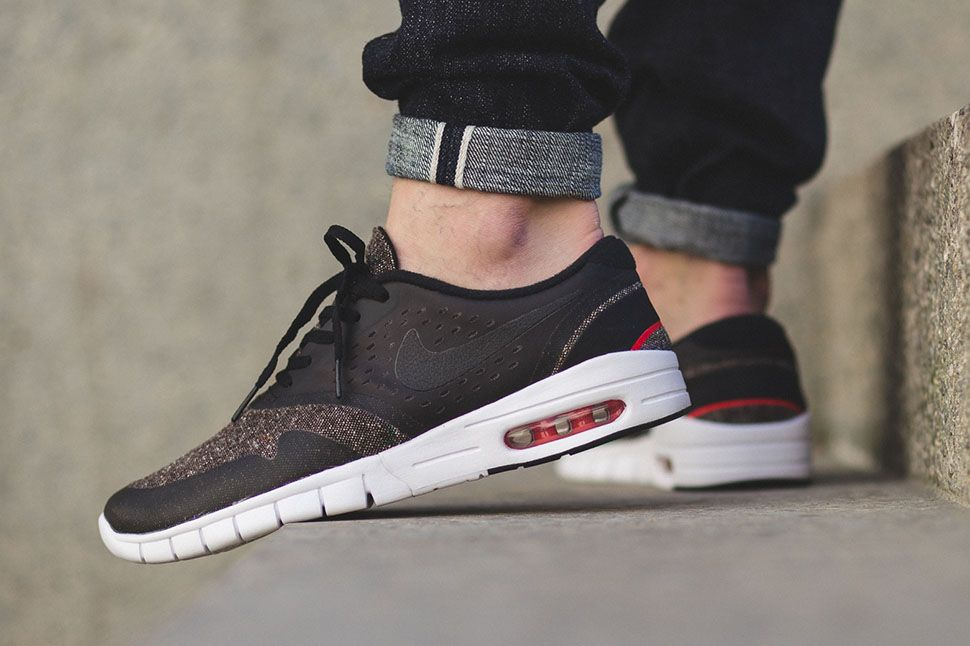 Check out the latest Nike SB Eric Koston 2 Max release. The sneaker takes  on a seasonal look with a classic looking baroque brown textile base with  black p