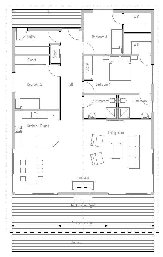 Plano Casa Madera Techo 2 Aguas Casas De Campo En 2019