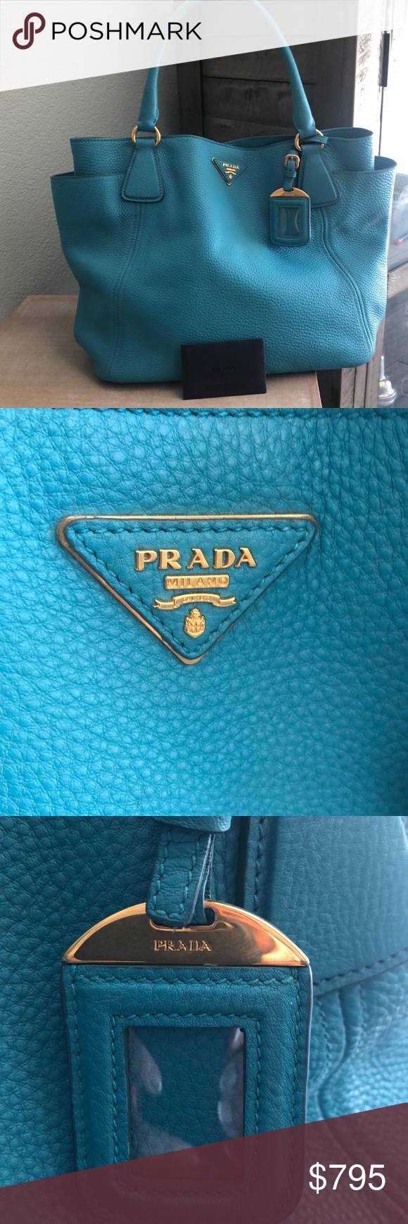 Photo of PRADA HANDBAG Beautiful Prada handbag in teal blue. Two side pockets with very l… ,  #Beaut…
