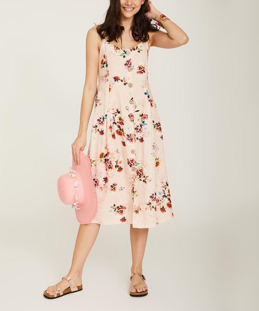 6e1820f2ecb9 Ornella Paris Pink Floral Sleeveless Button-Front Midi Dress - Women    Zulily
