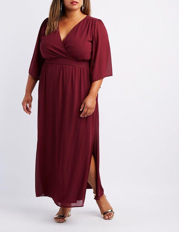 932bb002d37 Charlotte Russe Plus Size Kimono Sleeve Surplice Maxi Dress ...
