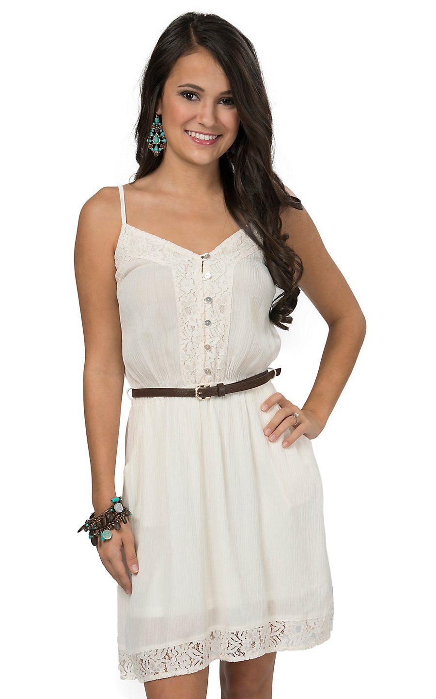 Double Zero Women S Off White With Lace Belted Pocket Sleeveless Dress Western Dresses For Women Dresses Cowgirl Dresses [ 1440 x 900 Pixel ]