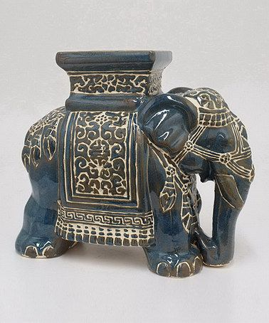 Take A Look At This Blue Elephant Garden Stool By Three Hands Corporation  On #zulily