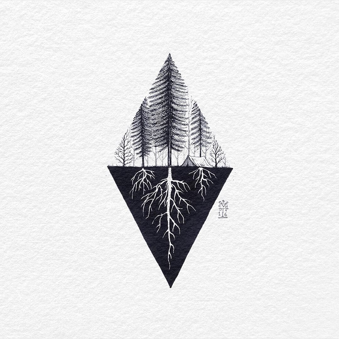 "Bali Tattoo By Bacht on Instagram: ""Up and Underground. old ink work. Good evening... . . . . .  #outdoor #camping #underground #tatts #tattoo #tattoos #triangle #geometric…"""