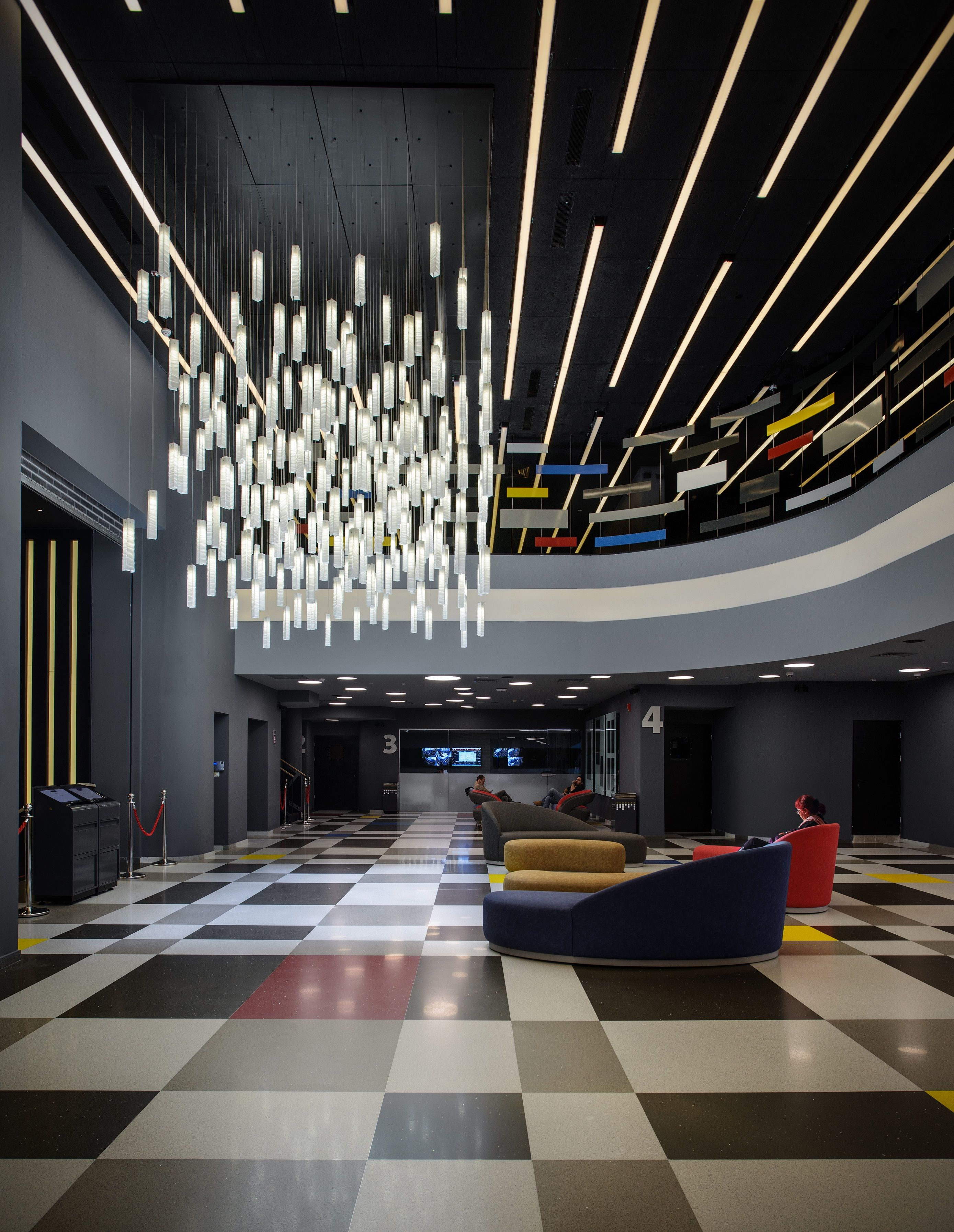 Circular Led Pendant Above Reception Desk Lobby Interior Design Hotel Lobby Design Office Reception Design
