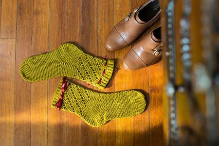 These simple crochet socks look comfy. Twirl Socks Flat