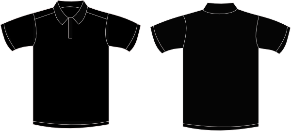 Polo shirt (golf shirt) template illustration set (front/back/side.