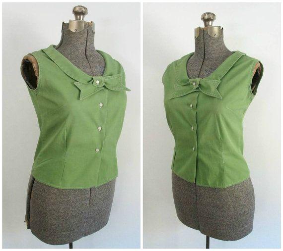 Mid Century Cotton Blouse Green Sleeveless Peter by rileybella123, $34.00