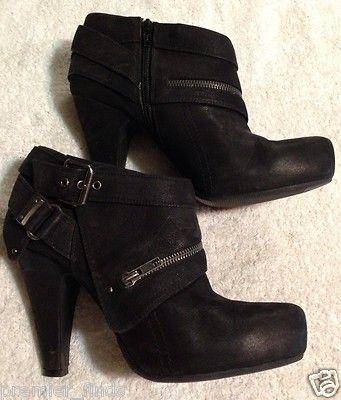 ALDO black ankle boots silver buckle Zipper Side Strappy Size 9 EU 40