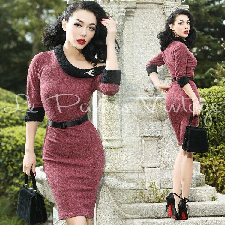 Le Palais Vintage Classical Maroon One Shoulder Wool Dress - Designed by Winny #LePalaisVintage #Dress
