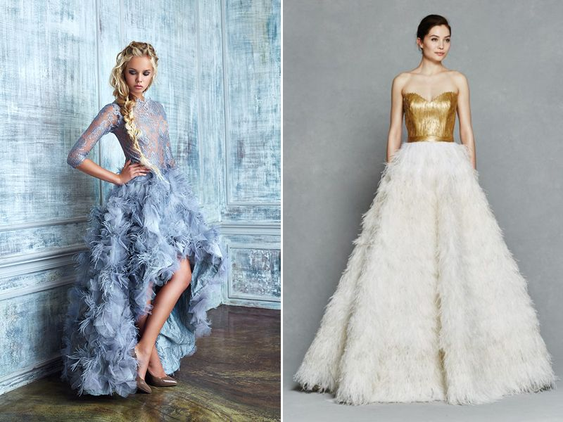 30 Gorgeous Wedding Dresses with Feather Details | Feathers, Wedding ...